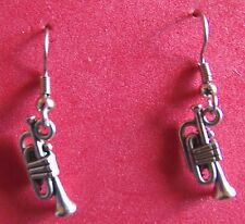 TRUMPET   EARRINGS  TIBET SILVER, EAR WIRE STAINLESS STEEL NEW UNUSED