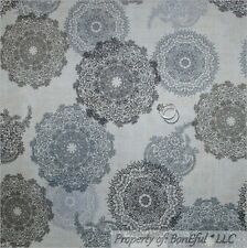 BonEful Fabric FQ Cotton VTG Cream Off White Gray Black B&W Lace Flower Paisley
