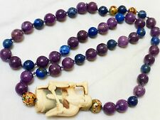 Vintage Chinese Natural Sugilite Stone and Lapis Beads Necklace