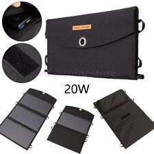20W Portable Foldable Solar Panel Battery Charger Power Bank Pack Dual USB Port