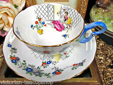 ROYAL GRAFTON TEA CUP AND SAUCER ROSEMARY BIRD HANDLE TEACUP VICTORIAN LADY