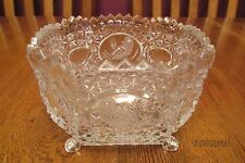 Hofbauer Crystal Byrdes Collection Square Footed Open Candy Dish ~ Etched Birds