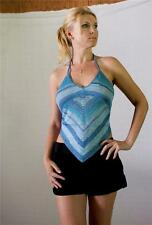 SHE'S USA Blue & Aqua Stripe Hippie Boho Knitted Rayon Crochet Halter Scarf Top