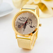 Women Analog Stainless Steel Gold Elephant Quartz Stainless Steel Wristwatch@