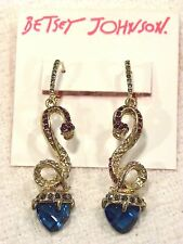 "BETSEY JOHNSON EARRINGS ""GARDEN OF EXCESS"", SNAKE DANGLES W/LG BLUE CRYSTALS $40"