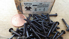 "25 x NETTLEFOLDS GKN 3/4"" x 4  BLACK JAPANNED ROUND HEAD WOOD SCREWS SLOTTED"