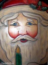Vintage Lynn Kaiser Carved Wood Relief SANTA Plaque Figure 1992 Artist Signed