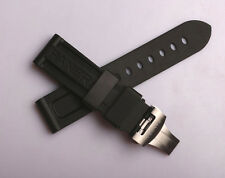 Rubber Band Diver Strap With Butterfly Clasp Buckle Fits PAN officine 24mm