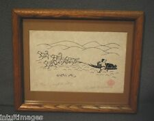 """Enook Manomie  """"A HUNTER AND HIS DOGS"""" Limited Edition 1979 Silk Screen w/Frame"""