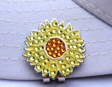 Sunflower Crystal Golf Ball Marker  with Bonus Magnetic Hat Clip