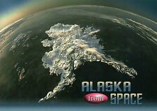 Satellite View of Alaska from Space, Snow & Ice Covered State AK Earth, Postcard