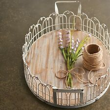 French Country Farmhouse Cream Oval Metal Tray