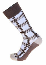 Mens Steven Land White With Brown Plaid Cotton Dress Socks