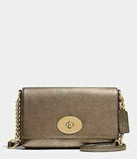 Coach 36335 Metallic Pebble Leather Crosstown Crossbody Bag (Gold)
