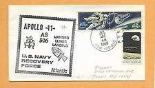 APOLLO 11 AS 506 MANNED LUNAR LANDING RECOVERY JUL 24,1969 U.S.S. NEW TWIN STAMP