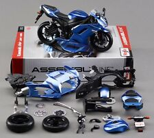 Free Shipping 1:12 Kawasaki Ninja ZX 6R Assembly DIY Motorcycle Model Blue New