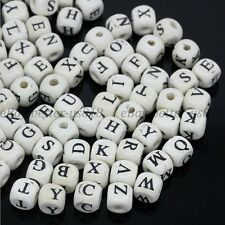 200Pcs Wood Beads Letters Print Cube Mixed White Jewelry Make Findings 8X8MM