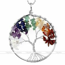 Fashion Silver Tree Of Life Quartz Gemstone Beads Pendant For Chain Necklace