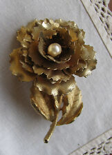 """Vintage Gold Plated - GIOVANNI Faux Pearl Blooming Flower Brooch Pin LARGE 3"""""""