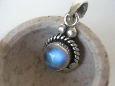 Rainbow Moonstone Silver Pendant ~ Fabulous bright blue!