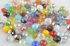 100Ps Random Mixed Color Crystal Glass Faceted Rondelle Bead 6mm Spacer Findings