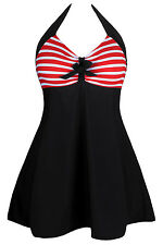 Black & red Striped One-piece Swimdress swimsuit swimwear 8-10-12-14-16