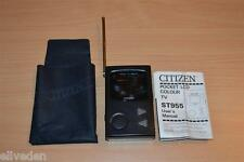 VINTAGE Citizen st995-ib Pocket TV TELEVISIONE A COLORI LCD CUSTODIA & MANUALE