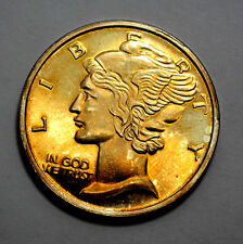 NAT. GOLD TONED 1 Troy Oz .999 Silver Round  Mercury  Dime Design, Unc, Proof