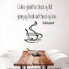 Wall Decal Quote Vinyl Sticker Turkish Proverb Coffee Cup Kitchen Decor Art m659