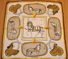 Original Hermès chiffon soie des/Foulard grand appareil Marron 90 x 90