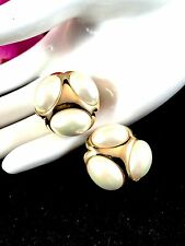 RARE COUTURE CHRISTIAN DIOR GERMANY HENKEL GROSSE OVAL FAUX PEARL CLIP EARRINGS