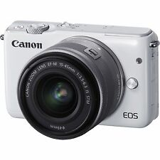 CANON EOS M10 MIRRORLESS CAMERA KIT - EF-M 15-45mm IS STM LENS 18MP CMOS - WHITE