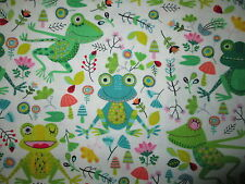 FROG GRASS FROGS FLOWERS MUSHROOMS WHITE COTTON FABRIC BTHY