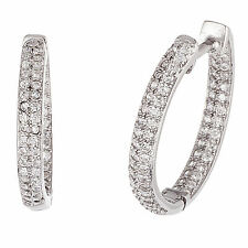 18K White Gold Sterling Silver Cubic Zirconia In and Out Hoop Earrings