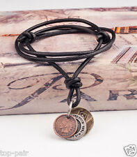 PN45 Cool Mens Surfer Beach Genuine Black Leather Choker Necklace Metal Coins