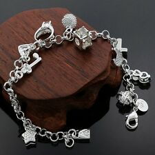925 Sterling Silver Bracelet Beautiful Chain Link Charm Ladies Women Gift Bag