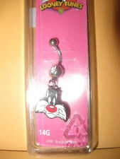 New SYLVESTER Head BELLY BUTTON RING cat HOT TOPIC 14G surgical steel