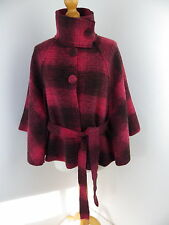 Per Una Ladies Wool Cape / Italian Collection / One Size 10 - 14 M&S red black