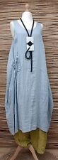 LAGENLOOK 100% LINEN AMAZING SPRING/SUMMER LONG DRESS*PALE BLUE*SIZE 12-18