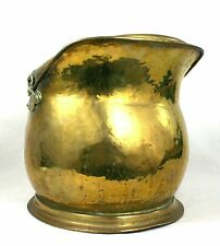 Antique Victorian Brass Coal Log Bucket Scuttle Helmet Shaped