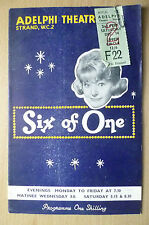 ADELPHI THEATRE PROGRAMME & TICKET 1st Performance 1963-SIX OF ONE by W Chappell