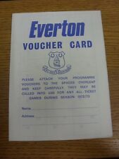 1972/1973 Everton: Voucher Card - 4 Pages, Includes Fixture List (Unused). Footy