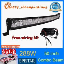 50inch 288W Curved Led Work Light Bar SPOT FLOOD JEEP + Free Wiring Kit 240/300W