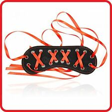 SEXY RED RIBBONS BLINDFOLD BLACK PU LEATHER EYE MASK PATCH -COUPLES/LOVERS GAME