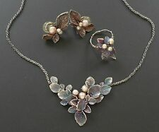 Antique 925 Silver Arts Crafts Pearl Lavalier Necklace Earrings Ring Set Vtg 8