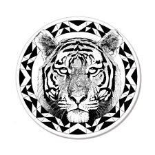 "Black White Tiger Tribal Design car bumper sticker decal 4"" x 4"""