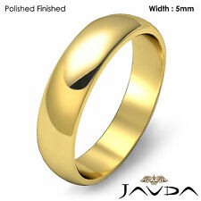 5mm Solid 18k Gold Yellow Dome High Polished Mens Wedding Band Ring 5.7gm 8-8.75