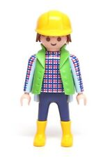 Playmobil Figure Construction Worker Plaid Shirt Vest Yellow Hard Hat Boots 3271