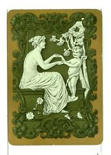 "Single Vintage Old Wide Playing Card ""Grecian Lady w/Cherub"" Grn w/Gold Border"