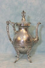 Antique Wilcox Silver Co. Plated Elaborate Coffee Pot on Hoofed Legs c.1880